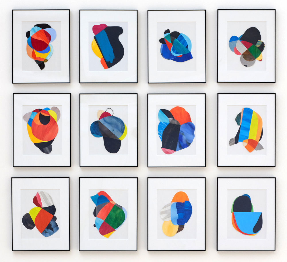 """No Boundary"" Grid, Grimshaw-Gudewicz Gallery, Spring 2015 Acrylic and ink on paper, (each frame is 11x14 inches) installation of 12 (4 over 3) total dimension is 50h x 46w inches (framed 2 inches apart)"