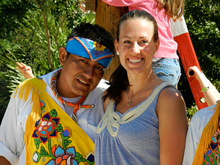 with a performer at Xcaret