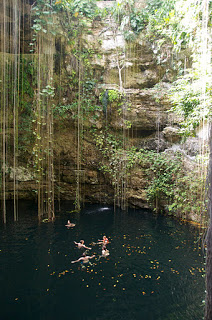 swimming in the Ik Kil cenote