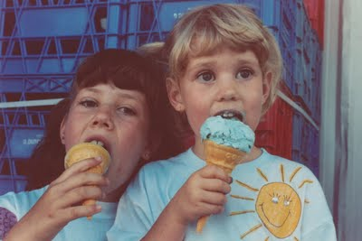 Courtenay & Jill enjoying bubble gum ice cream in the early days