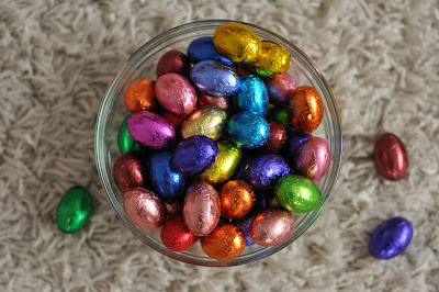 One more picture: yummy chocolate eggs from our local artisan chocolate shop.  What would Easter be without chocolate eggs?