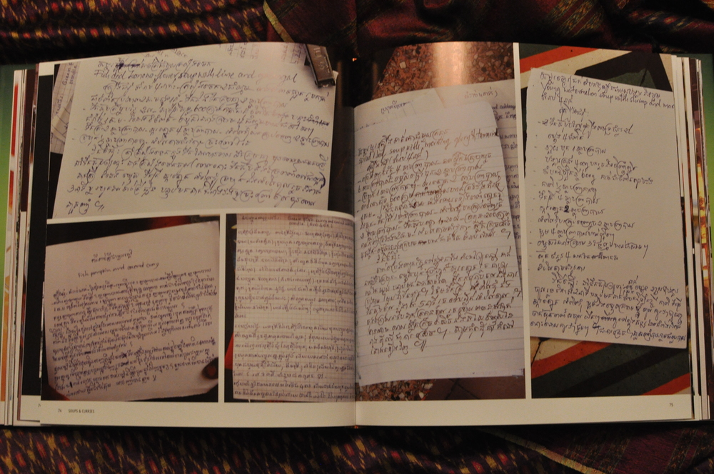 pages from the cookbook with notes from the students and lovely photos
