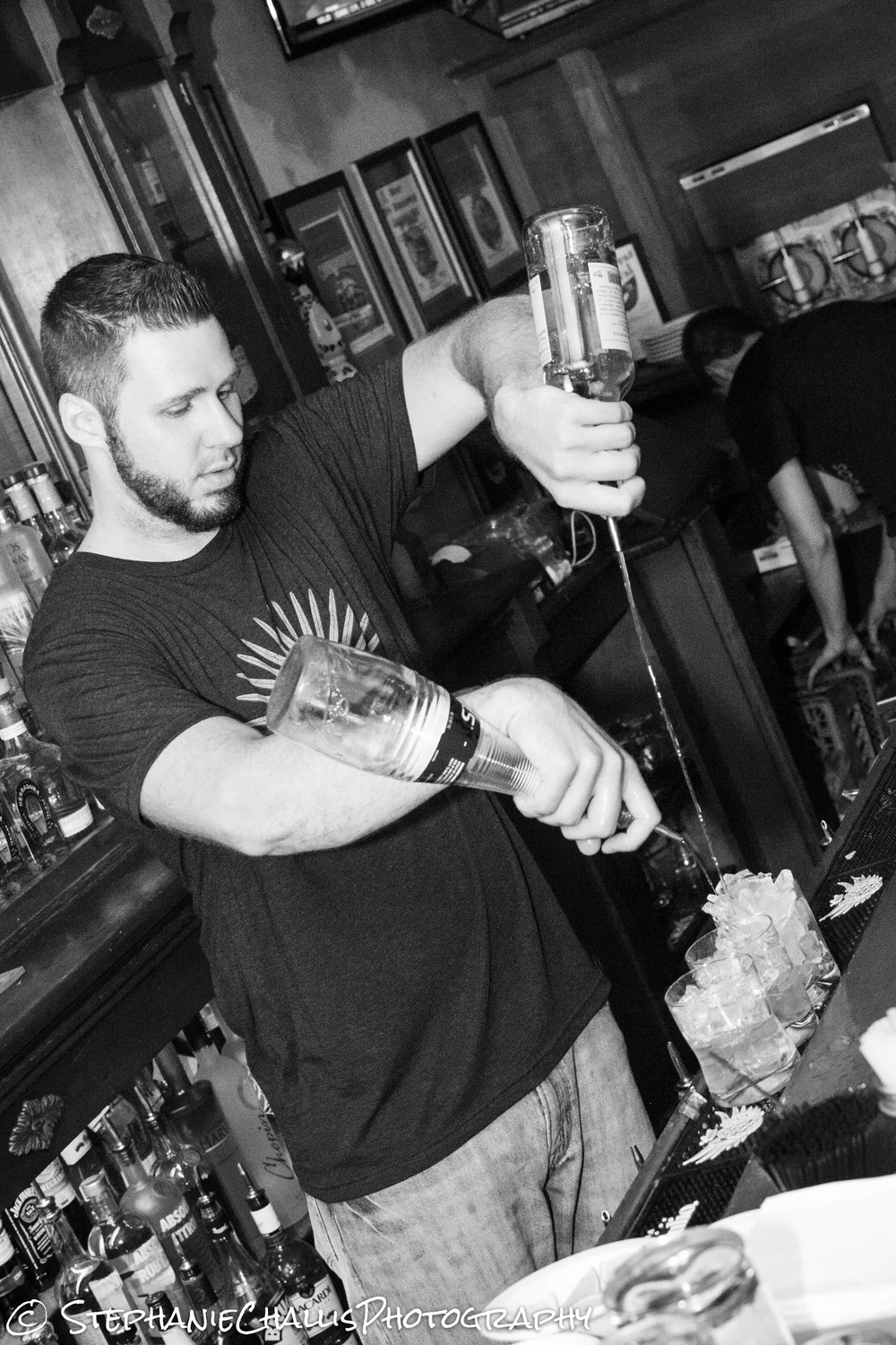 Terry pourin' up some margaritas behind the bar!