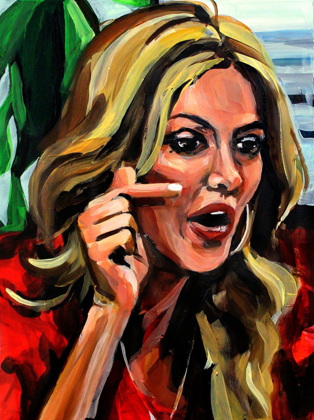 "Brandi Glanville Pointing at Kim   12"" x 16"" acrylic on panel"