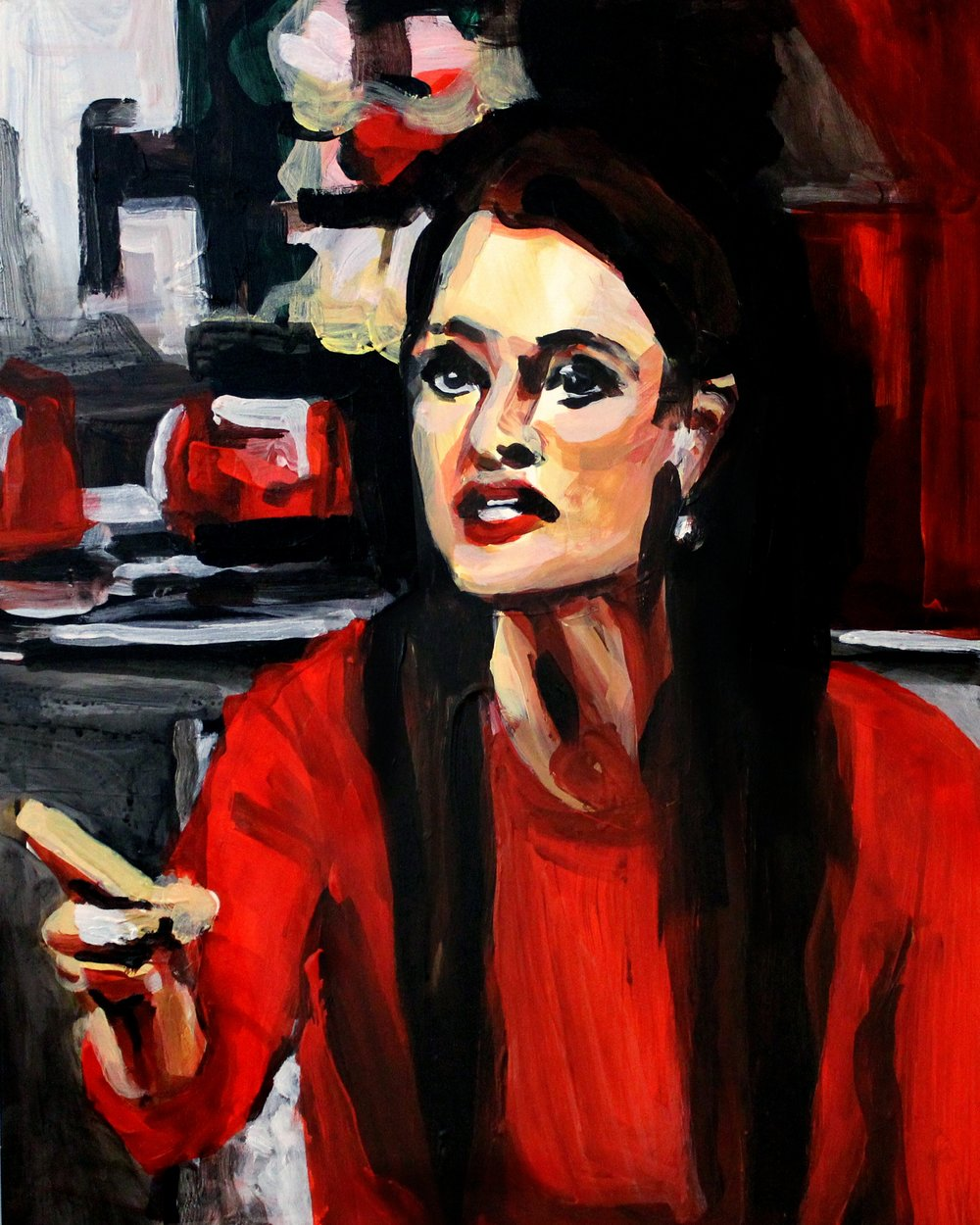 "Kyle Richards Pointing at Kim   16"" x 20"" acrylic on panel"