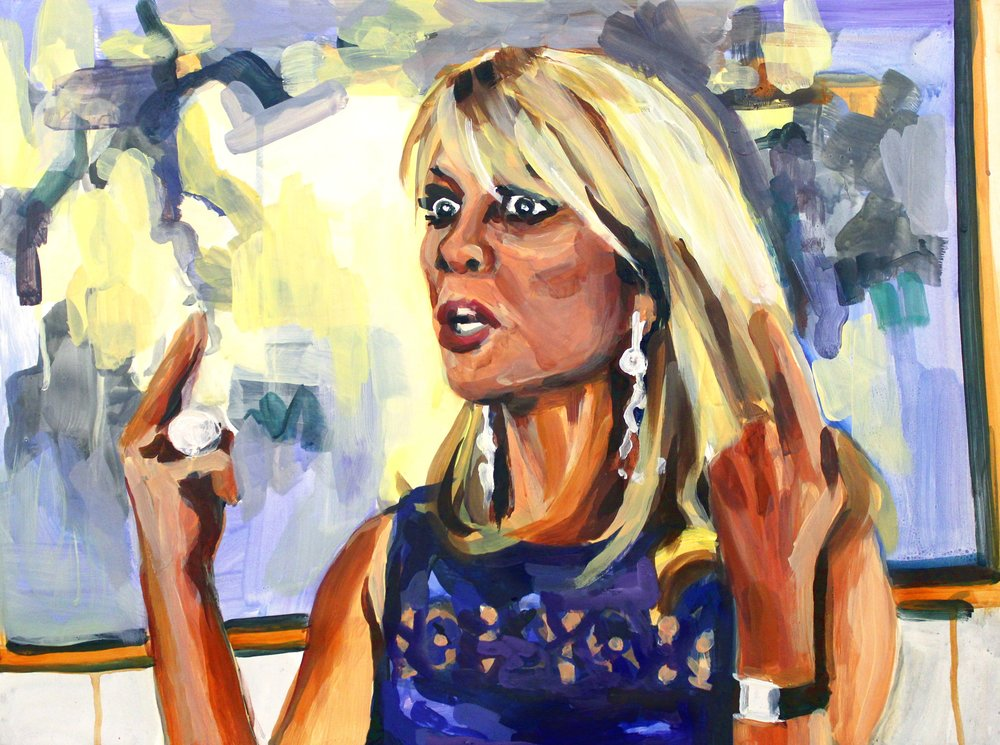 "Ramona Singer Pointing Up   18"" x 24"" acrylic on panel"