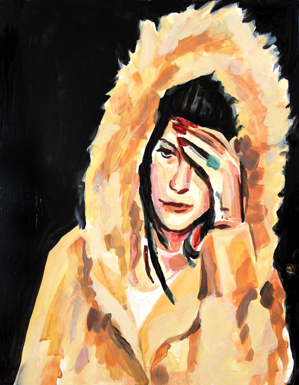 "Lana Del Rey in a Fur Hood    12"" x 16"" acrylic on panel"