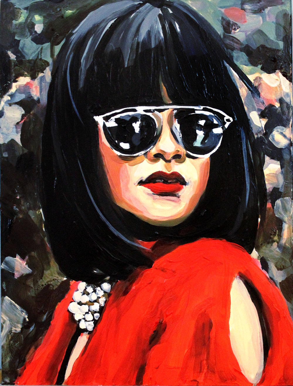 "Rihanna In Red Fur  9"" x 12"" acrylic on panel   SOLD"