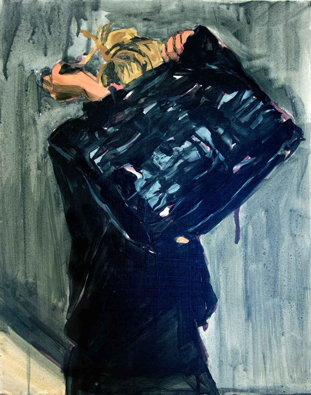 "An Olsen Twin Hiding Behind A Fendi Tote  11"" x 14"" acrylic on panel"