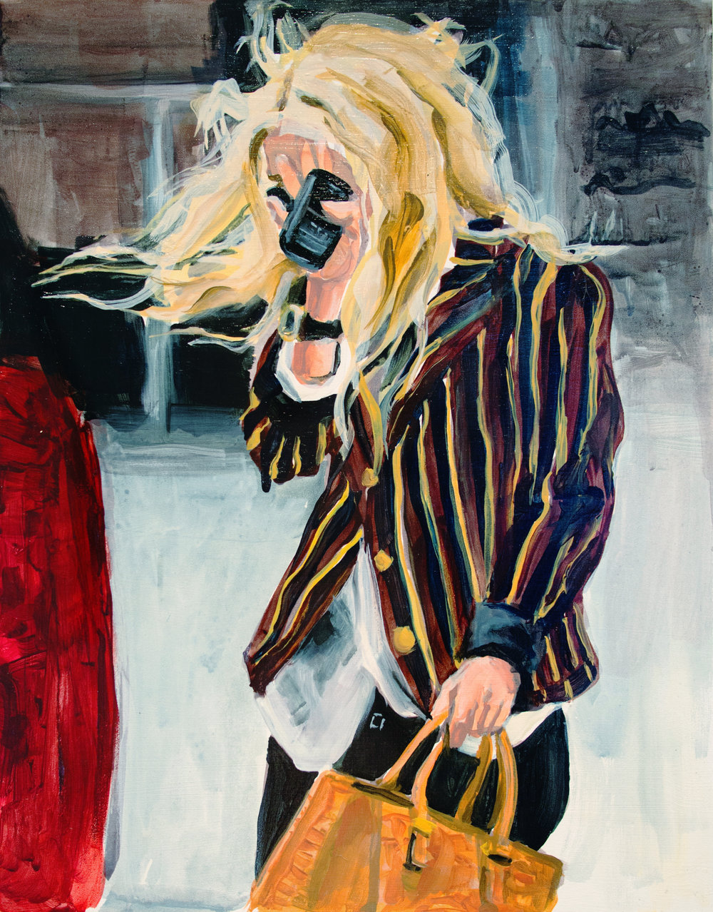 "An Olsen Twin Hiding Behind A Blackberry  11"" x 14"" acrylic on panel"