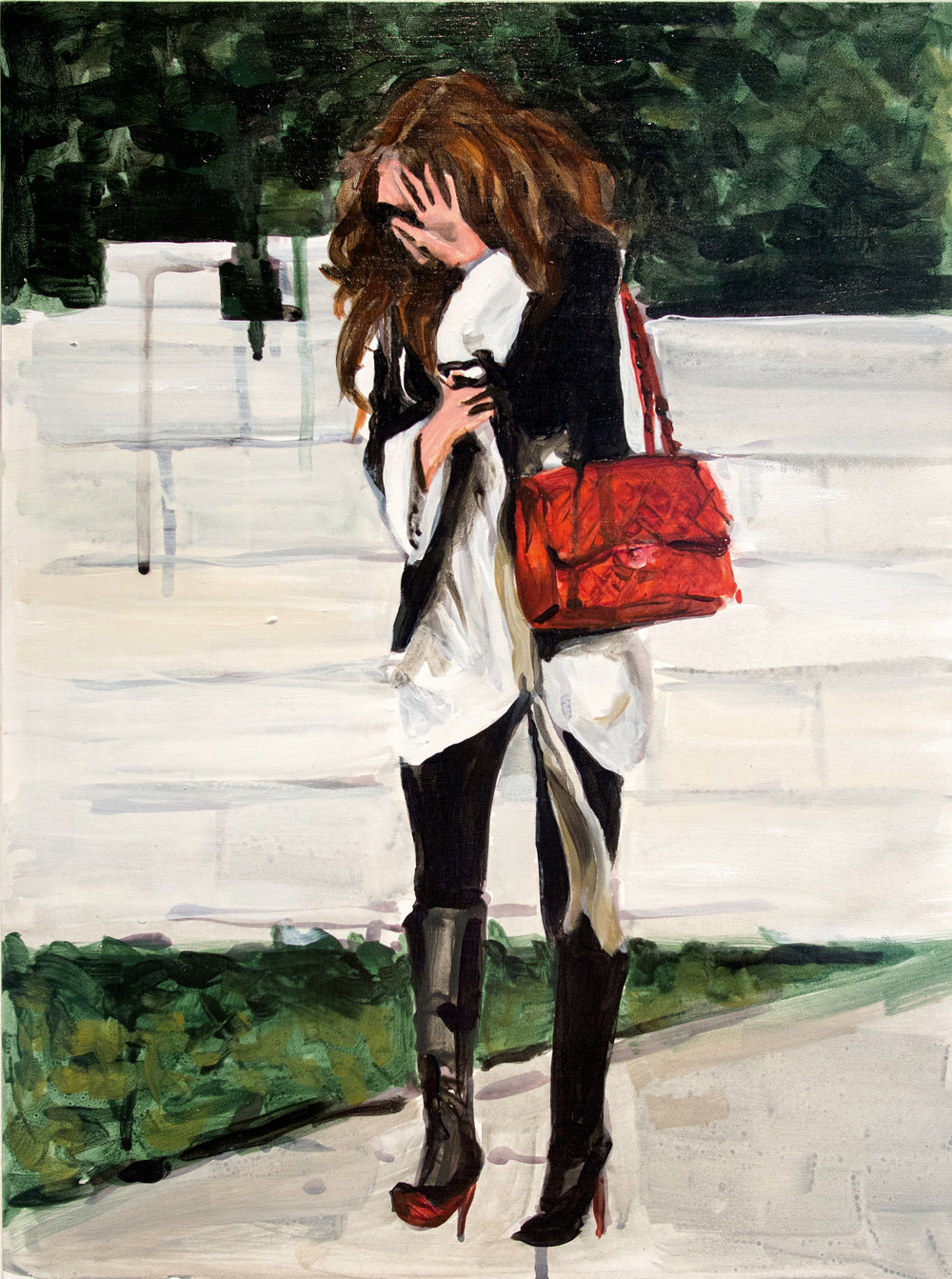 "An Olsen Twin Hiding Behind Her Left Palm  12"" x 16"" acrylic on panel"