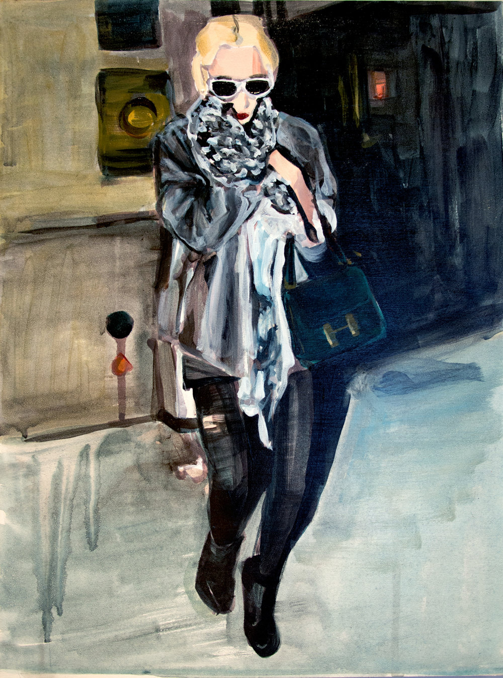 "An Olsen Twin Hiding Behind a Leopard Print Scarf    12"" x 16"" acrylic on panel   SOLD"