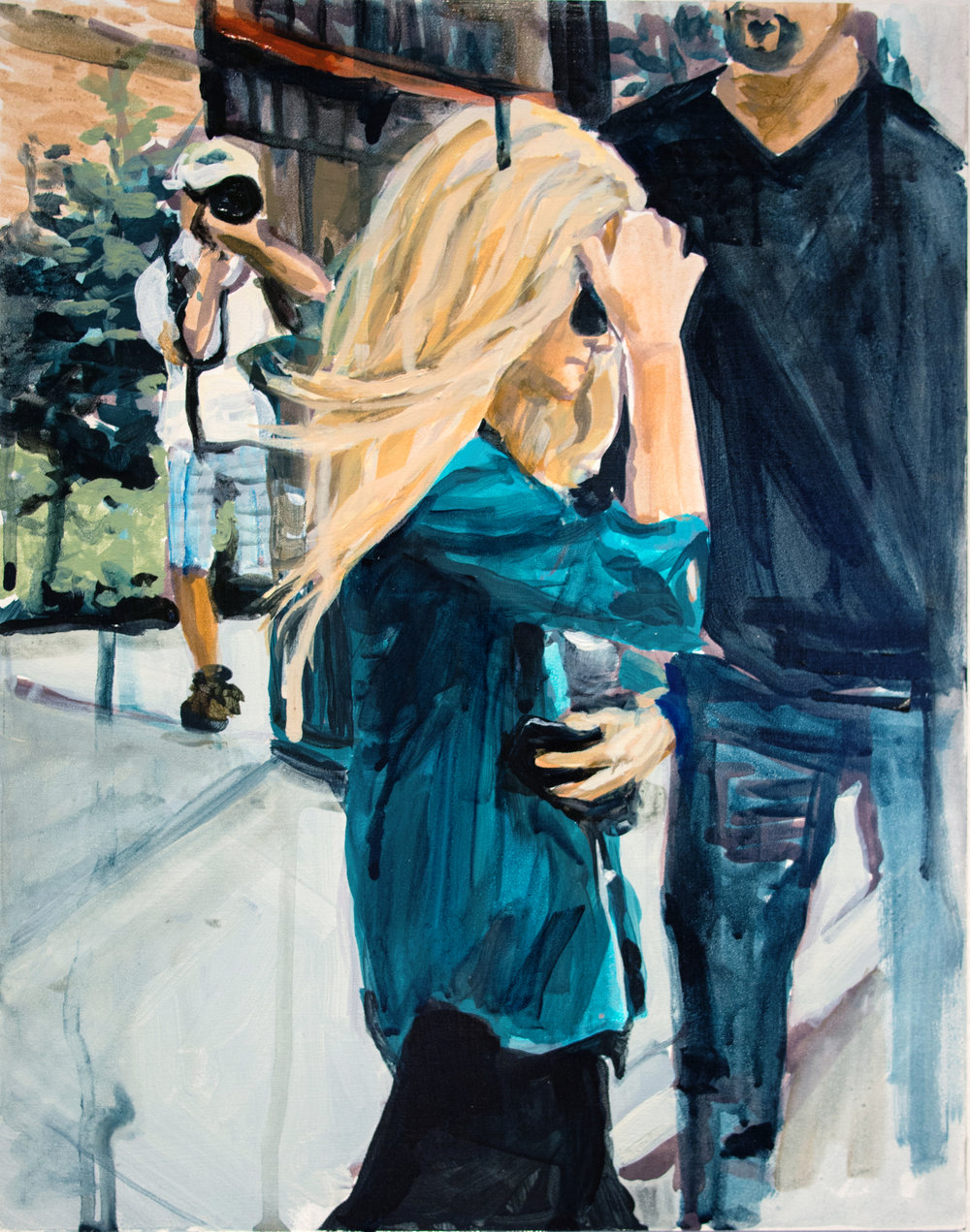 "An Olsen Twin Hiding Behind Her Right Arm    11"" x 14"" acrylic on panel"
