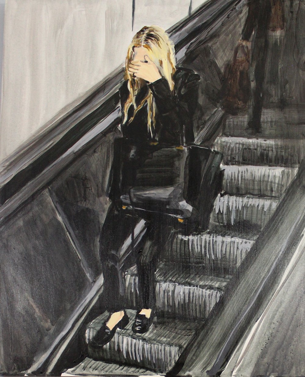 "An Olsen Twin Hiding Behind Her Left Hand on an Escalator  16"" x 20"" acrylic on panel"