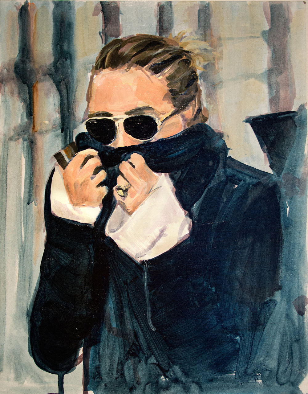 "An Olsen Twin Hiding Behind a Scarf 11"" x 14"" acrylic on panel"