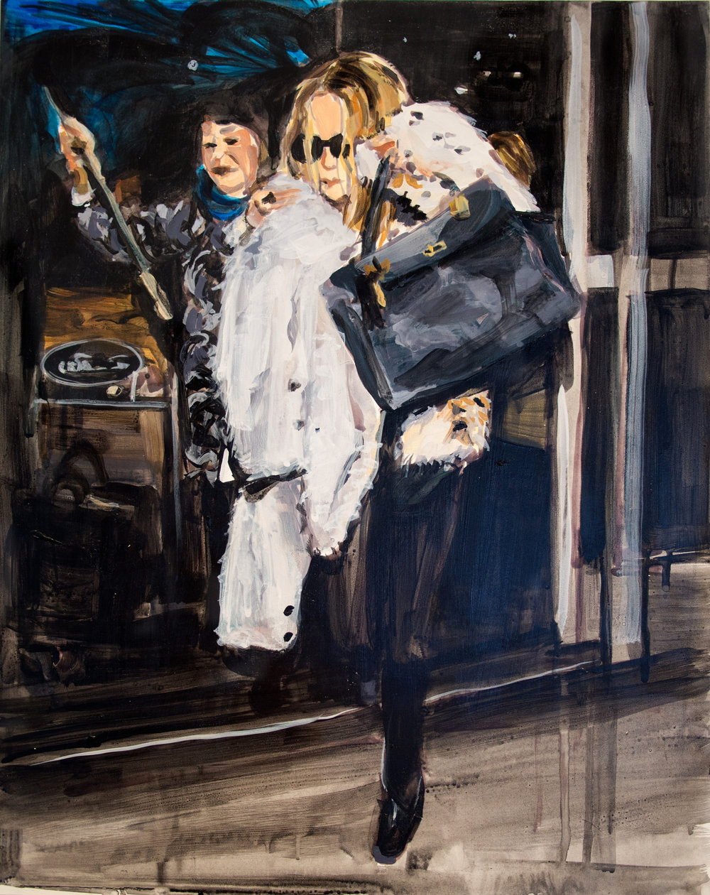 "An Olsen Twin Hiding Behind a Fur Coat    16"" x 20"" acrylic on panel   SOLD"