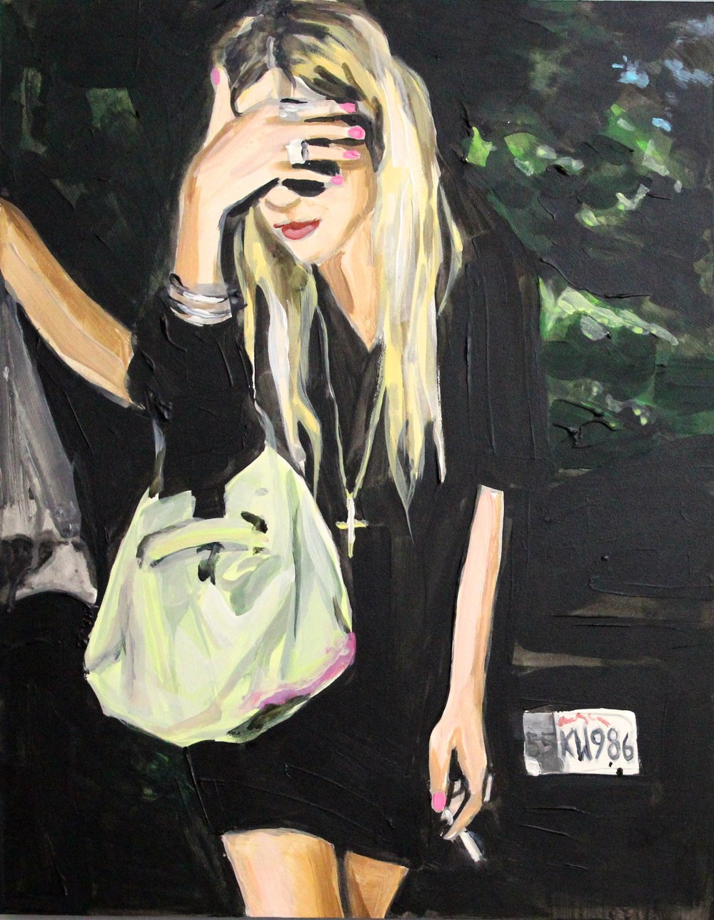 "An Olsen Twin Hiding Behind Her Right Hand and Smoking 11"" x 14"" acrylic on panel"