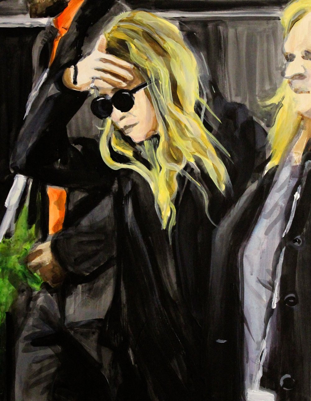 "An Olsen Twin Hiding Behind Her Right Hand and Sunglasses 11"" x 14"" acrylic on panel"