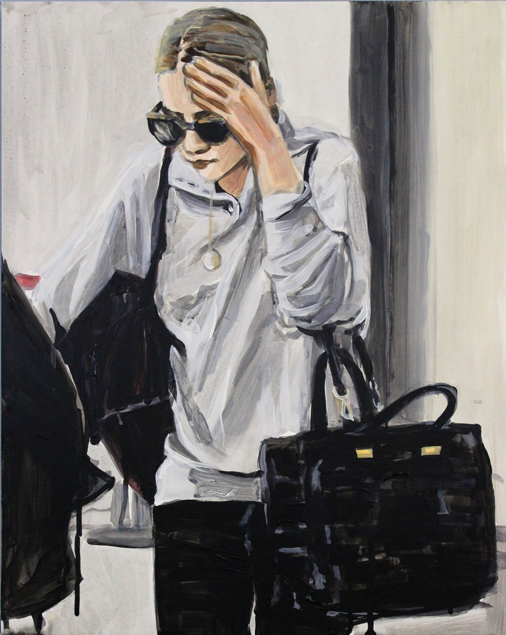 "An Olsen Twin Hiding Behind Her Left Hand With Two Bags    16"" x 20"" acrylic on panel   SOLD"