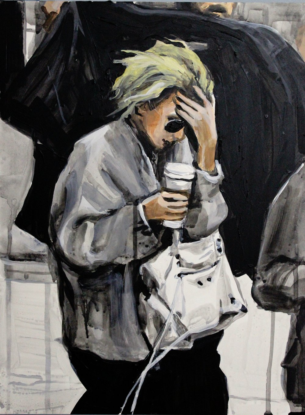 "An Olsen Twin Hiding Behind Her Left Hand and a Coat    16"" x 20"" acrylic on panel   SOLD"