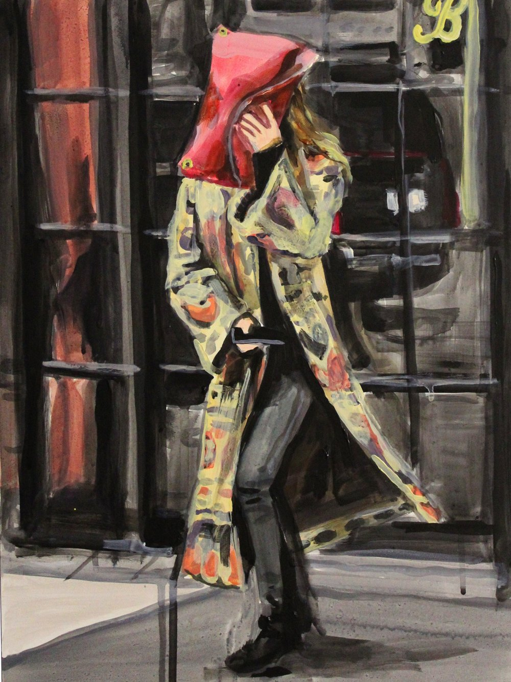 "An Olsen Twin Hiding Behind a Clutch in a Tapestry Coat  12"" x 16"" acrylic on panel"