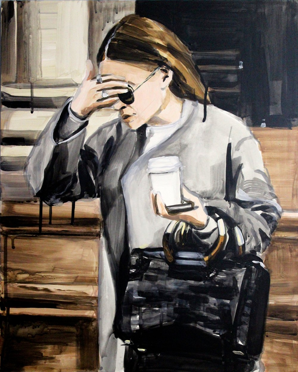 "An Olsen Twin Hiding Behind Her Right Sleeve  16"" x 20"" acrylic on panel"