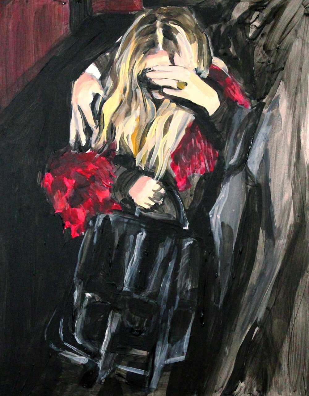 "An Olsen Twin Hiding Behind Her Hand In Red Fur    11"" x 14"" acrylic on panel   SOLD"