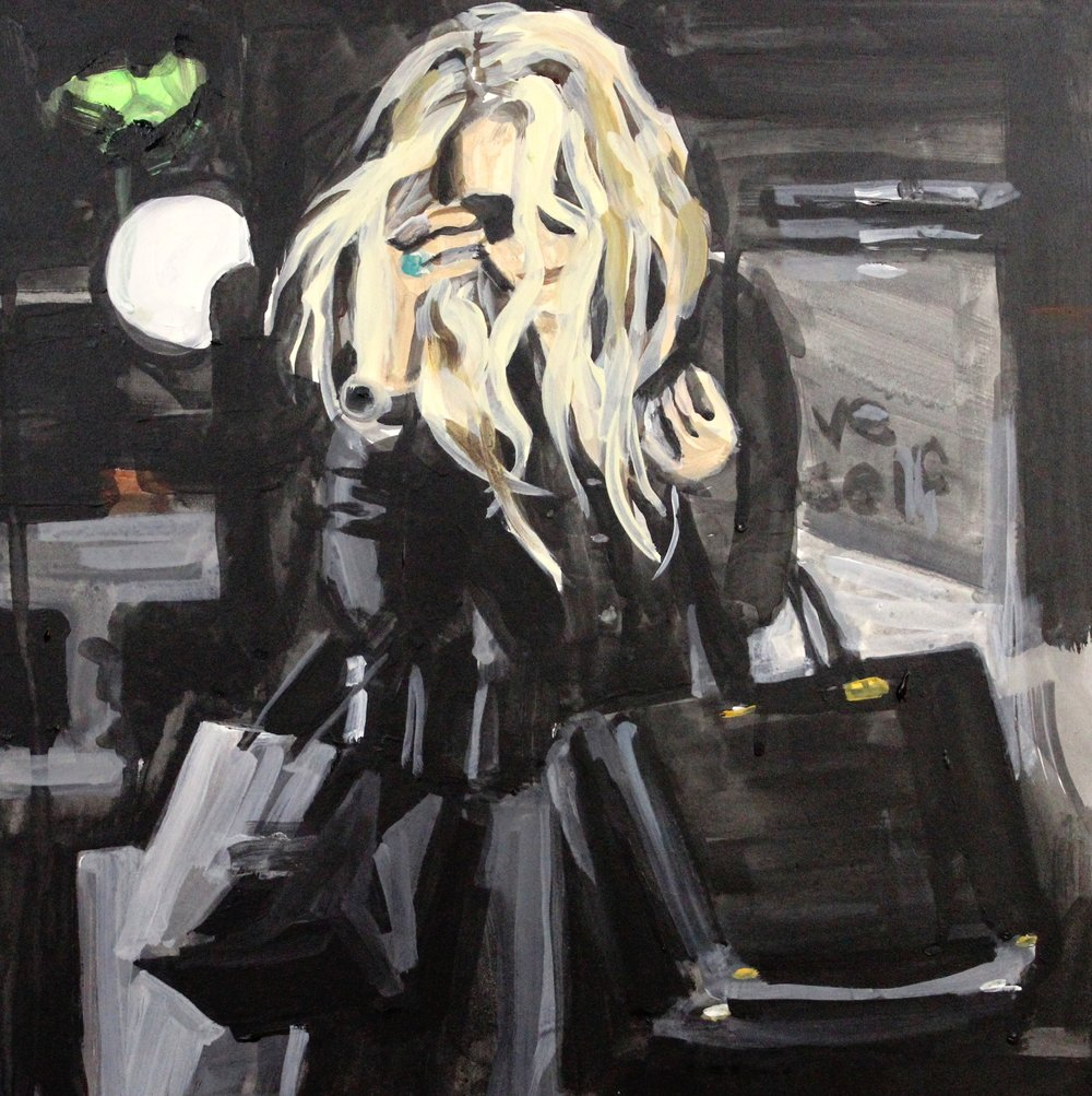 "An Olsen Twin_Hiding Behind Her Hair Carrying Three Bags  12"" x 12"" acrylic on panel"