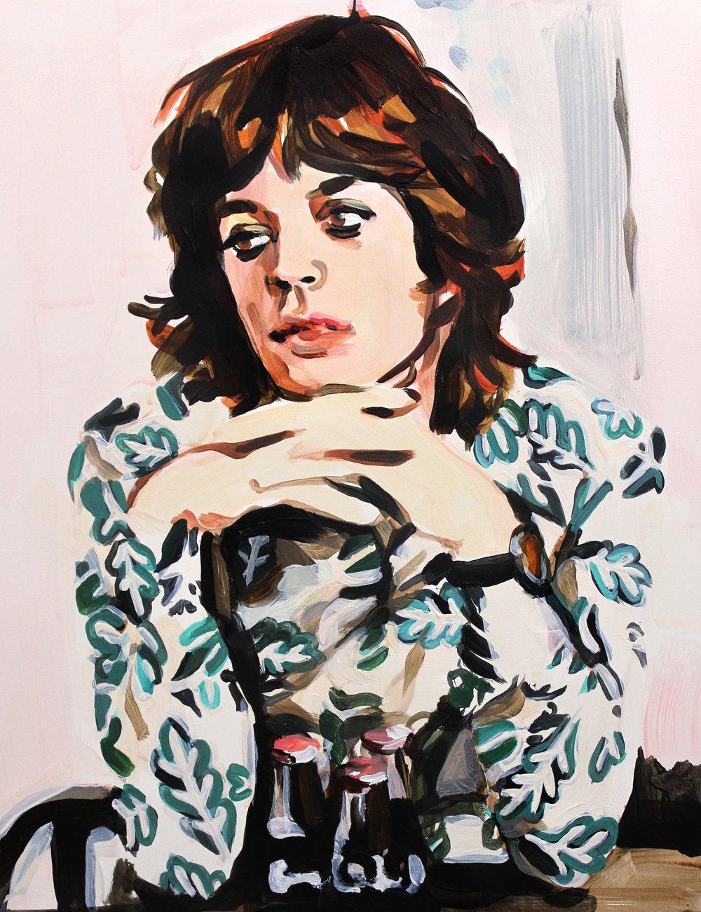 "Mick Jagger Wearing Eyeliner 11"" x 14"" acrylic on panel"