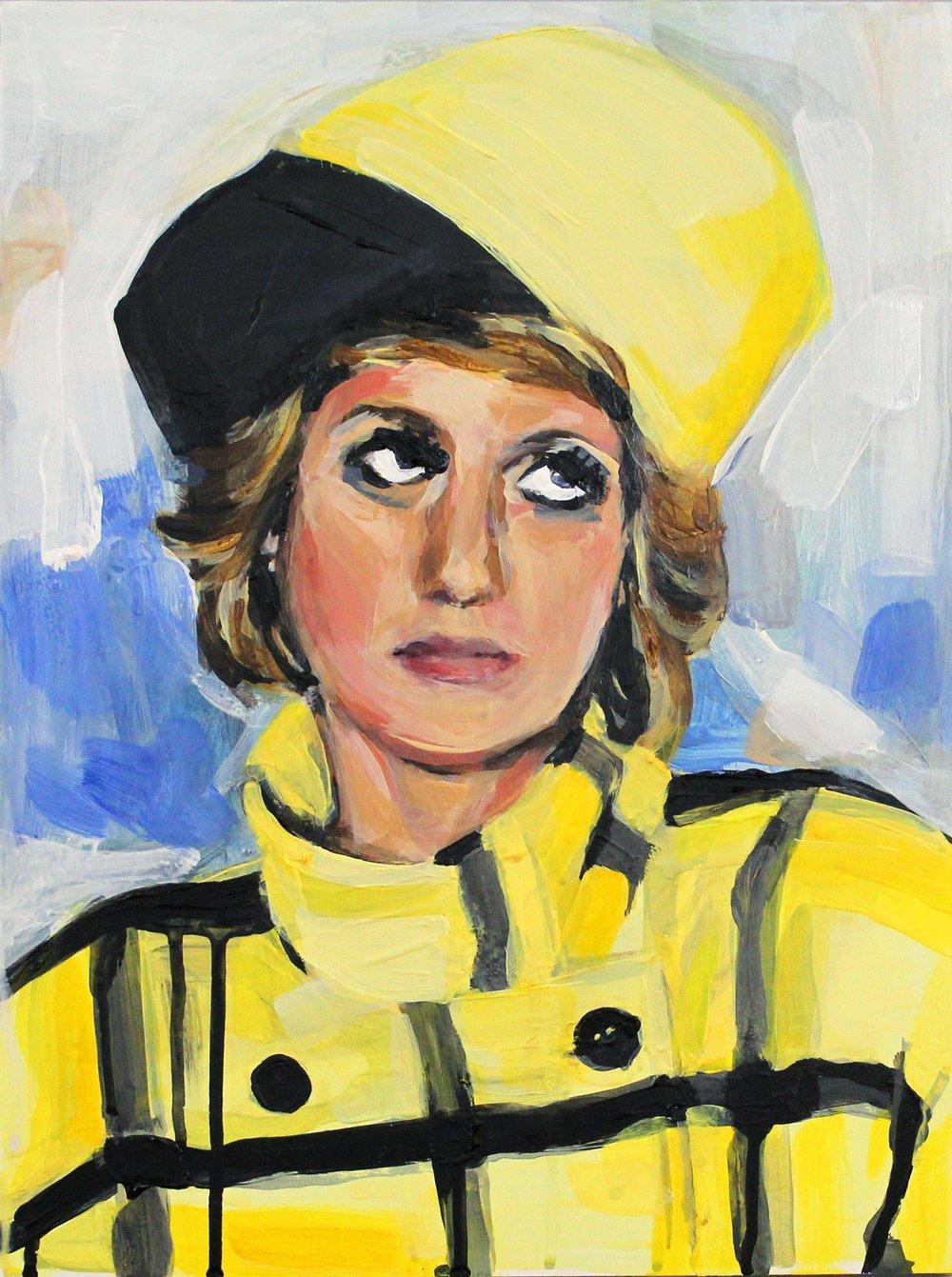 "Princess Diana Rolling Her Eyes 12"" x 16"" acrylic on panel"