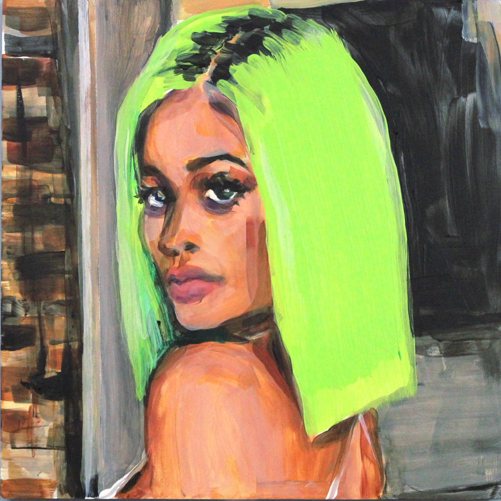 "Kylie Jenner's Highlighter Hair   12"" x 12"" acrylic on panel"