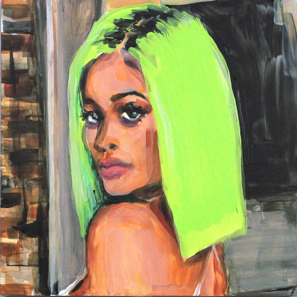 """Kylie Jenner's Highlighter Hair 12"""" x 12"""" acrylic on panel"""