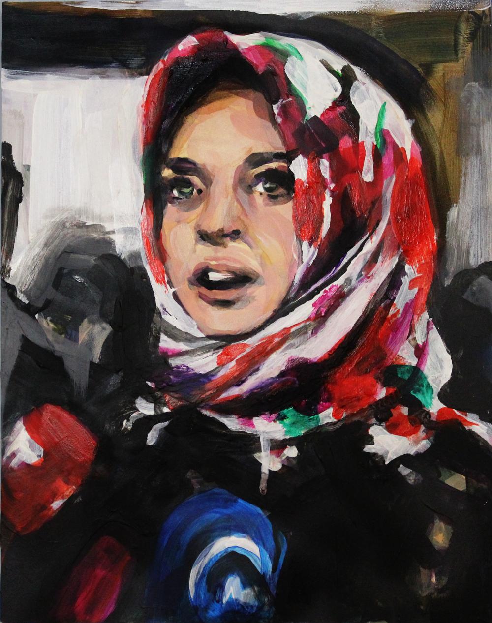 "Lindsay Lohan in a Floral Hijab 11"" x 14"" acrylic on panel"