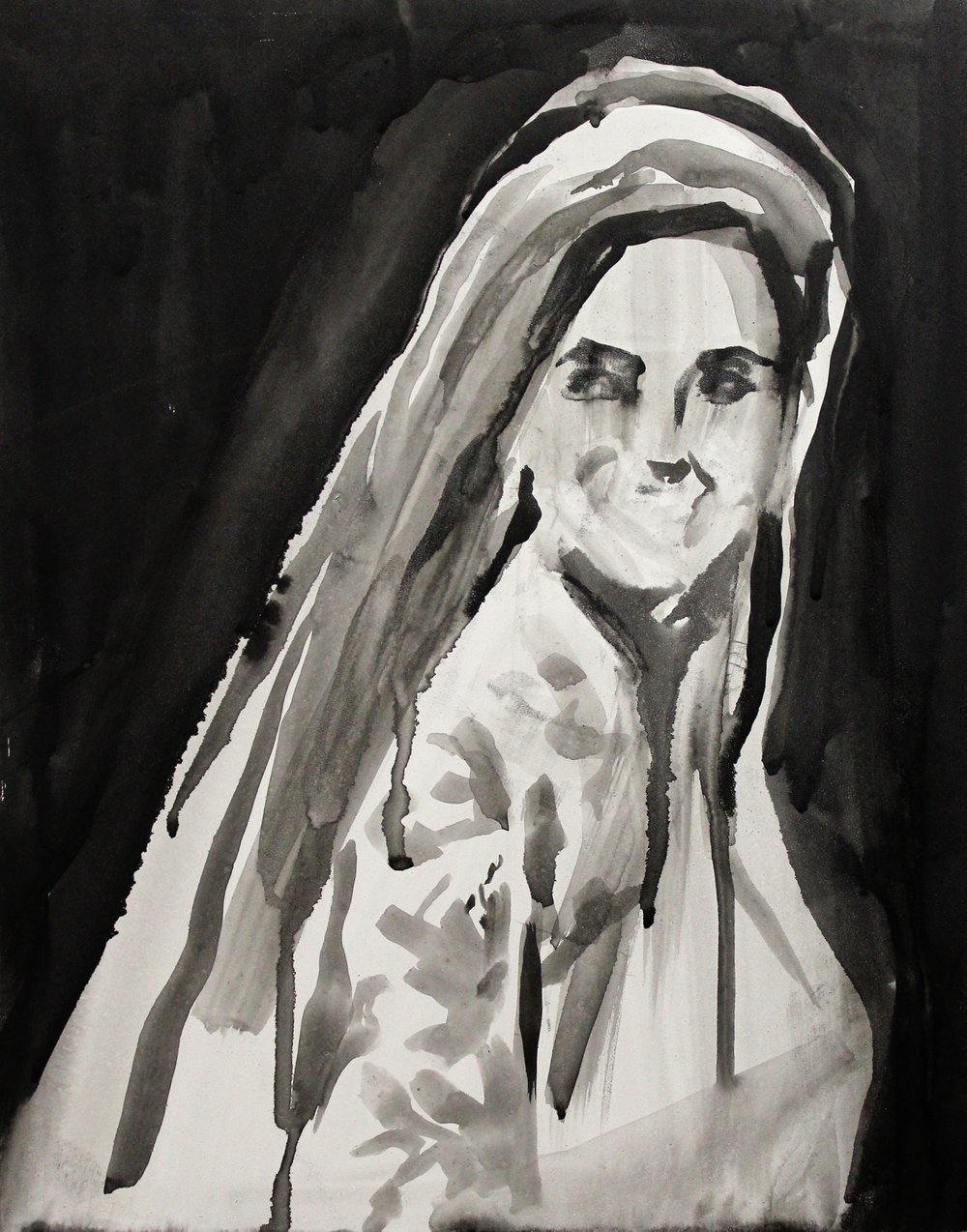 "Kate Middleton in a Veil  11"" x 14"" acrylic on panel"