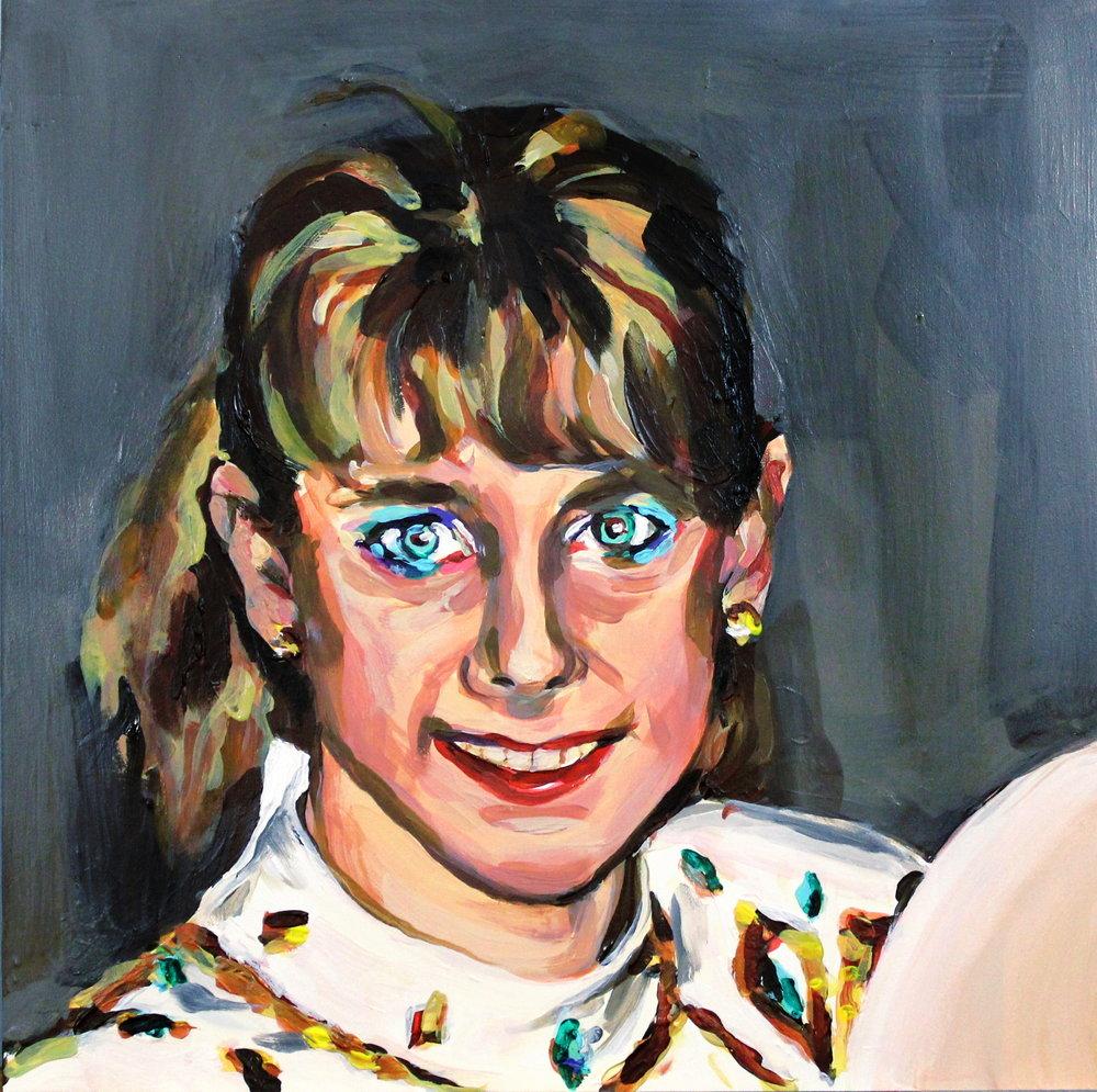 """Tonya Harding Wearing Blue Eyeliner 12"""" x 12"""" acrylic on panel"""