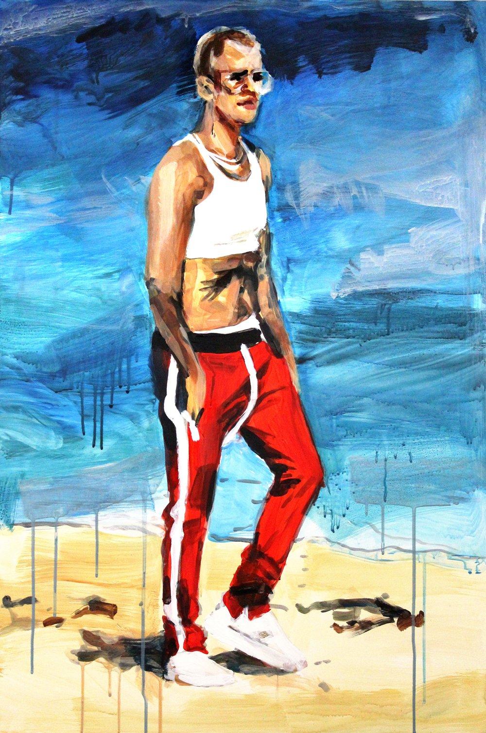 "Justin Bieber Walking Along the Beach 24"" x 36"" acrylic on panel"