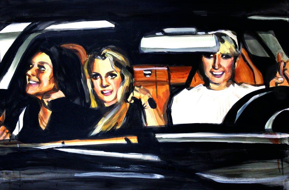 "Lindsay Lohan Britney Spears and Paris Hilton in a Car 24"" x 36"" acrylic on panel"