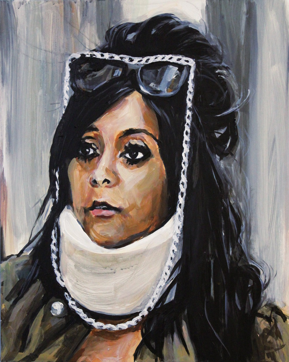 "Snooki Wearing A Neck Brace 12"" x 16"" acrylic on panel"
