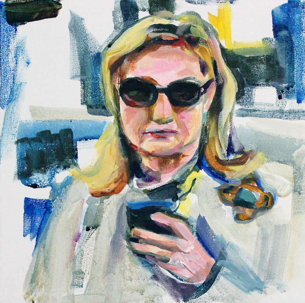 "Hillary on her Blackberry 12"" x 12"" acrylic on canvas"