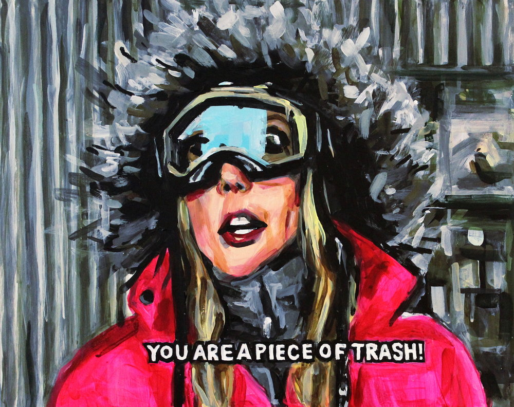 "Vicki Gunvalson Talking Trash On A Ski Trip 16"" x 20"" acrylic on panel"