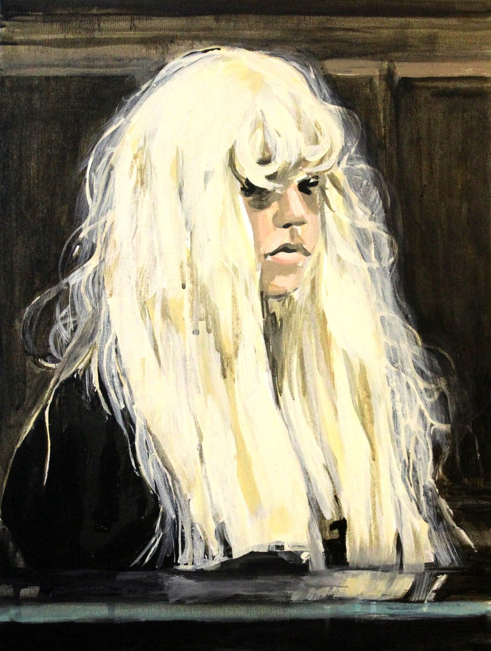 "Amanda Bynes Wearing a Wig in Court 12"" x 16"" acrylic on panel"