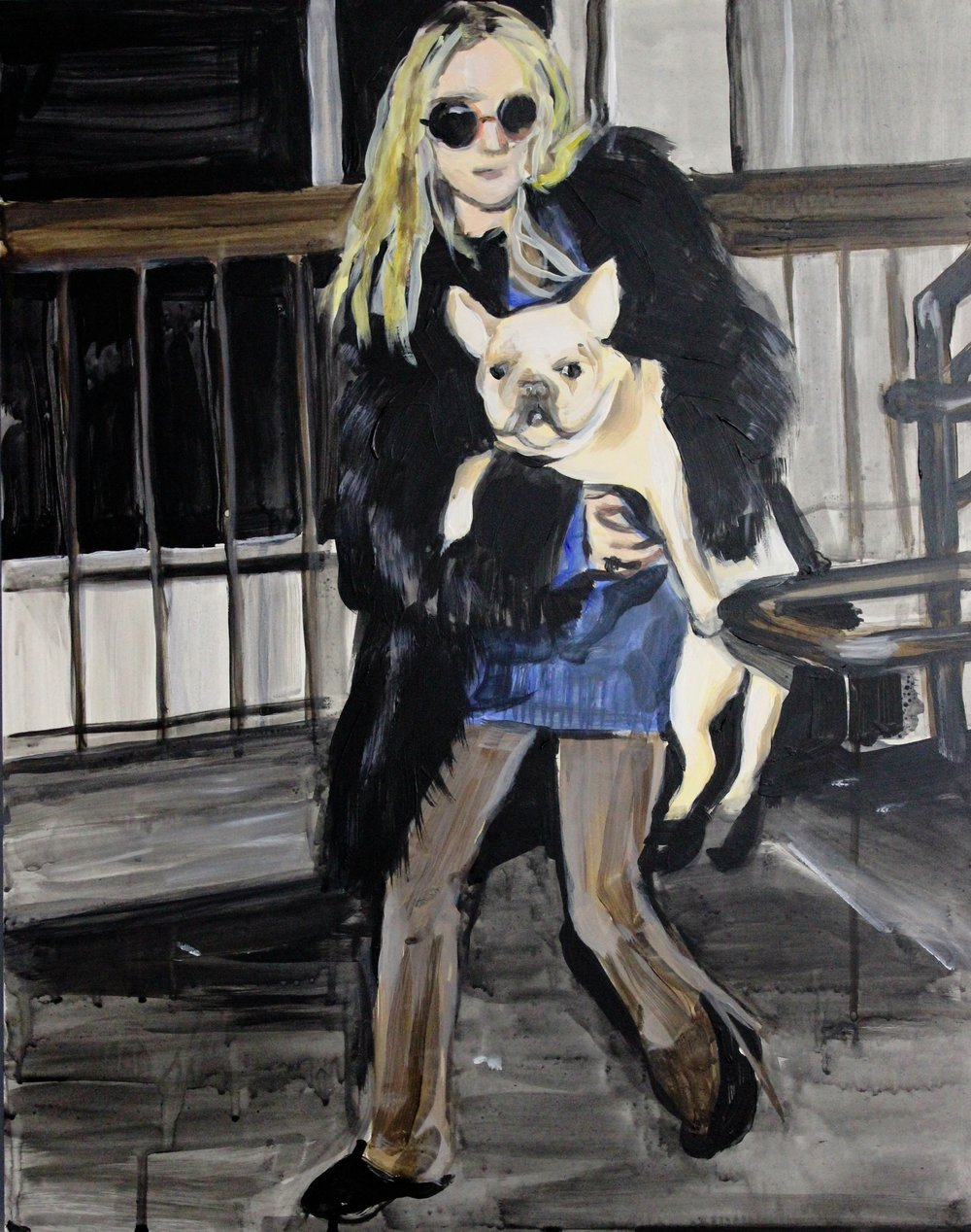 "An Olsen Twin Hiding Behind A French Bulldog 16"" x 20"" acrylic on panel"