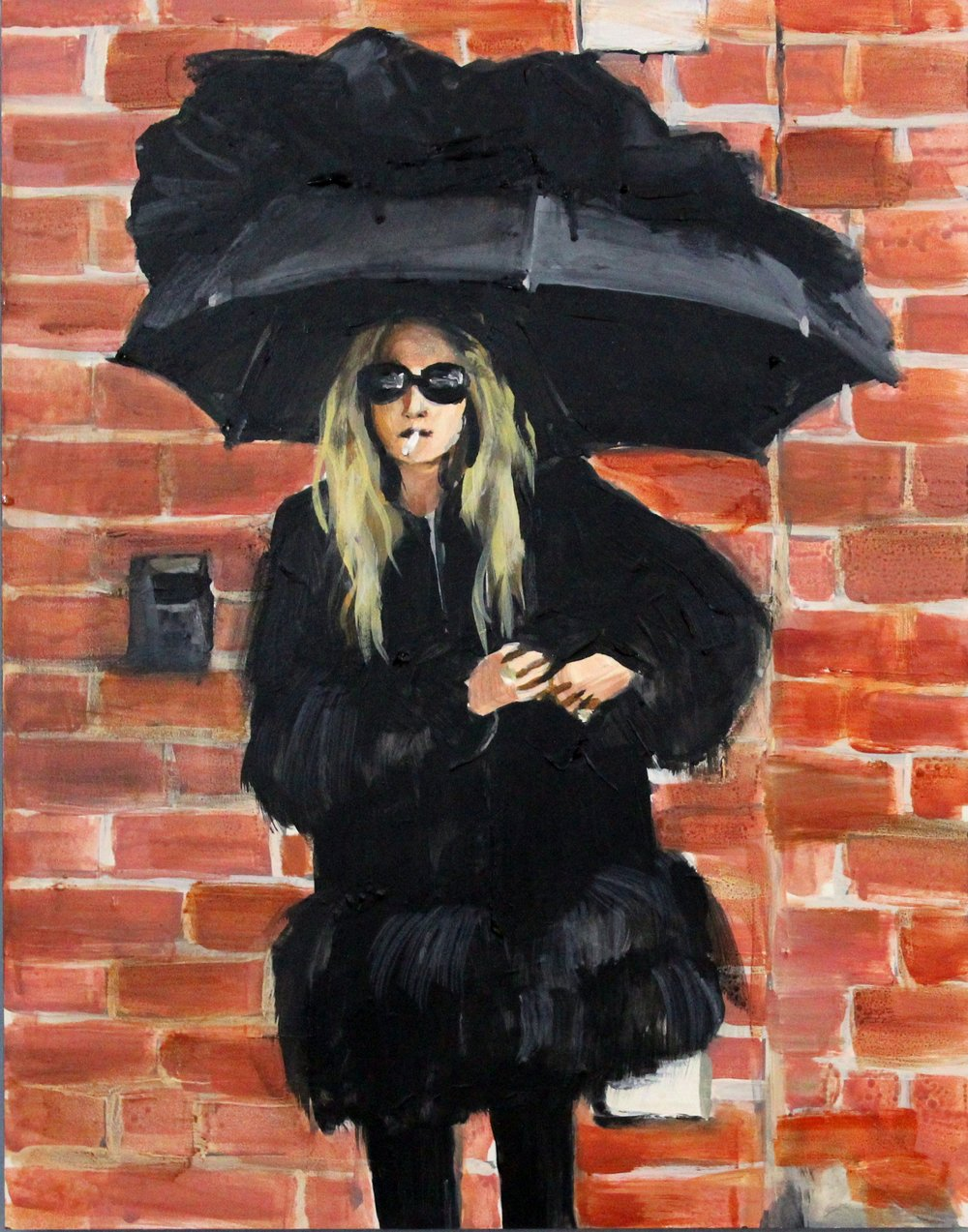 "An Olsen Twin Smoking Under an Umbrella 11"" x 14"" acrylic on panel"