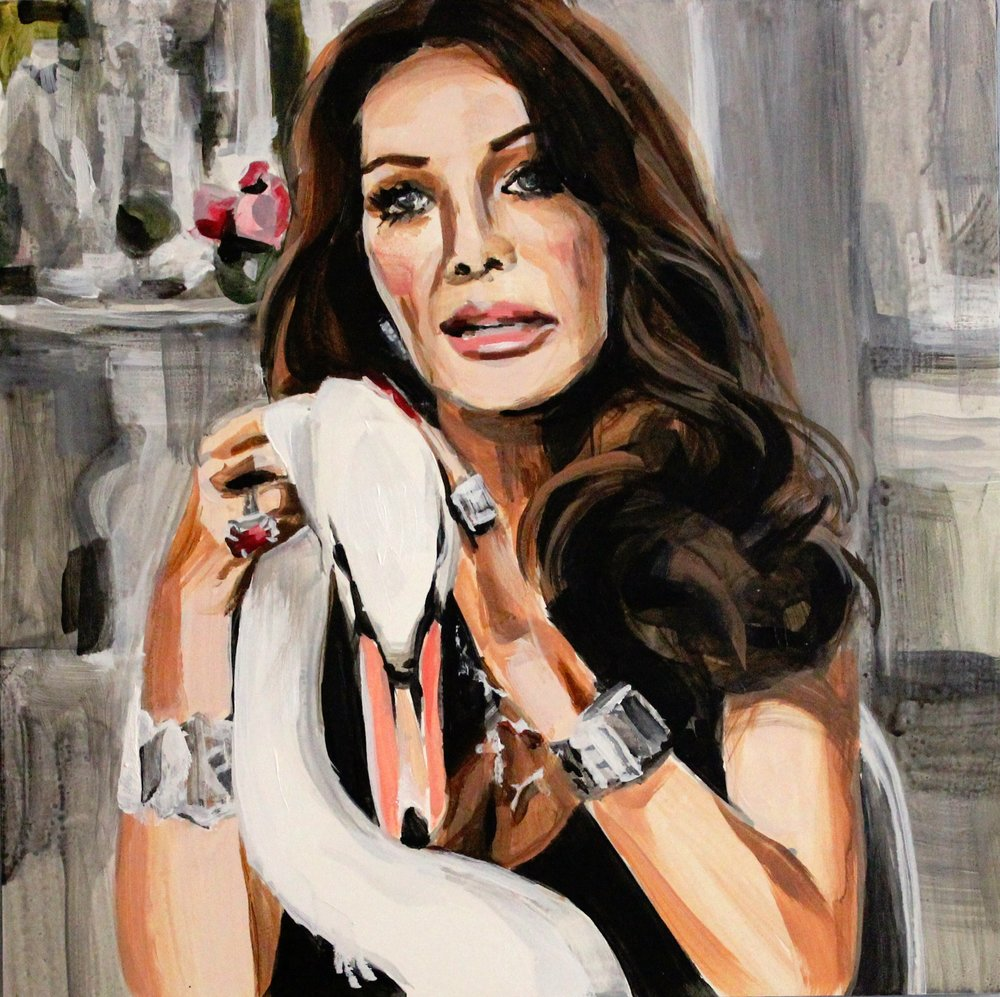 "Lisa Vanderpump With Her Pet Swan 12"" x 12"" acrylic on panel"