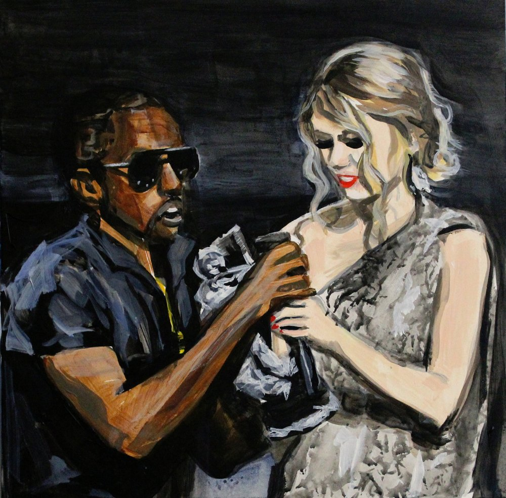 "Kanye West Interrupting Taylor Swift 12"" x 12"" acrylic on panel"