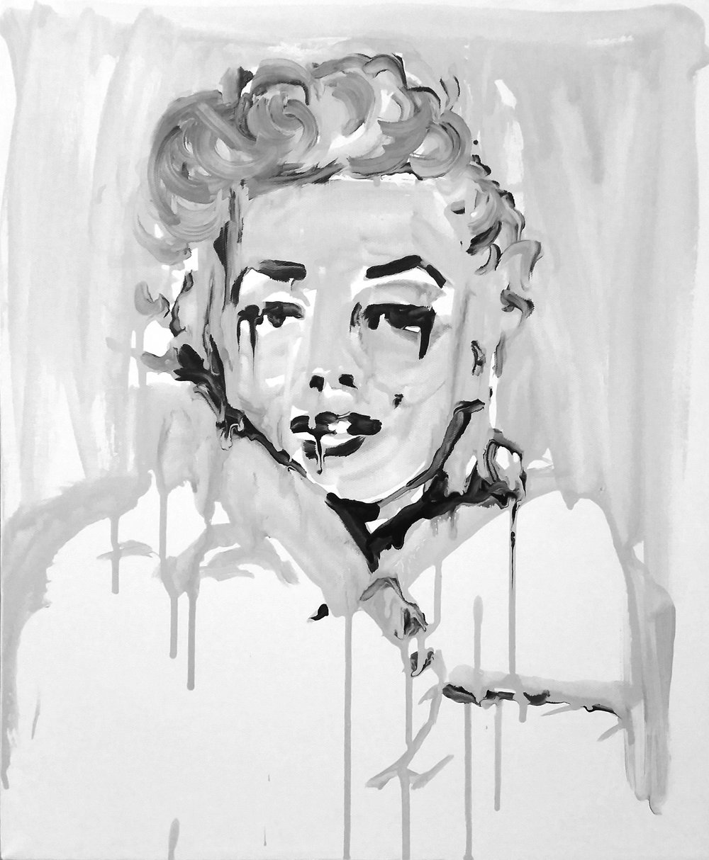 "Marilyn Monroe 16"" x 20"" ink on canvas"