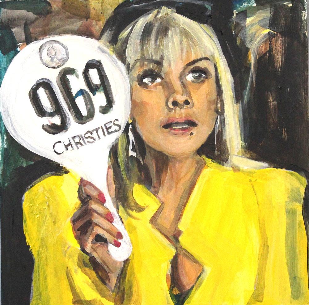 "Samantha Jones Bidding at Christie's 16"" x 16"" acrylic on panel"
