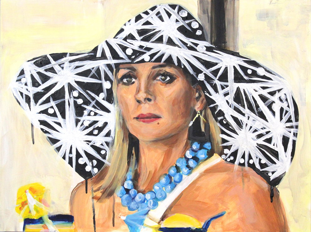 "Samantha Jones in a Sun Hat   18"" x 24"" acrylic on panel   SOLD"
