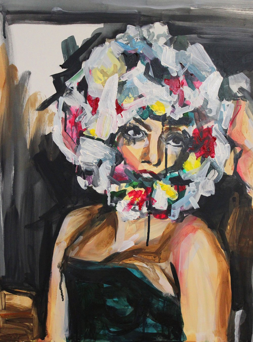 "Lady Gaga Wearing a Flower Hat 18"" x 24"" acrylic on panel"