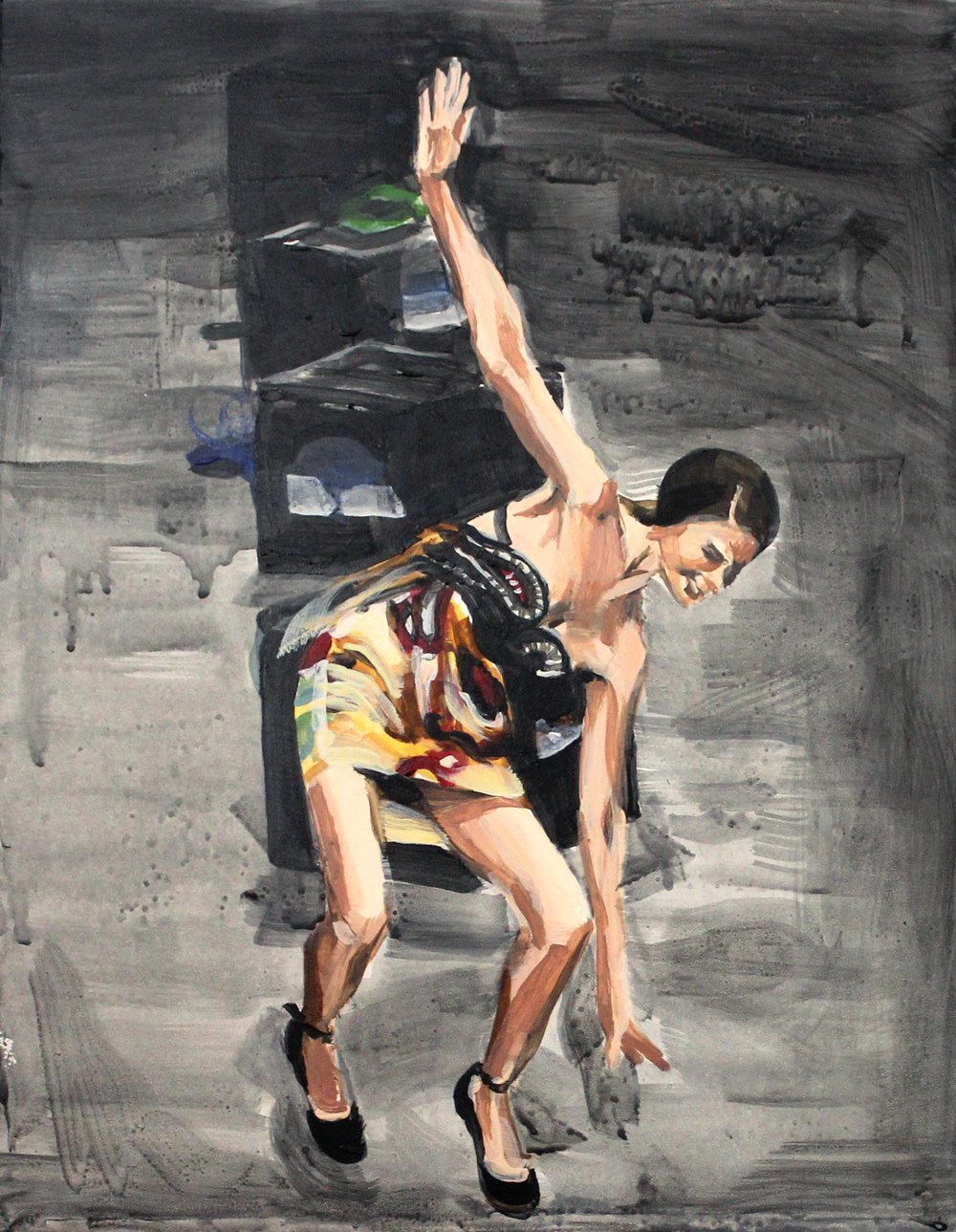 "Runway Model Falling no.1 11"" x 14"" acrylic on panel"